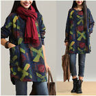 Korean Fashion Women Lady Long Sleeve Plus Size Cotton&Linen Printed Loose Dress