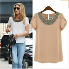2015 Womens Ladies Chiffon Short Sleeve T Shirt Casual Tops Beads Blouse UK 6-18
