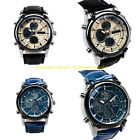 New Men Leather Band Luxury Sport Day Date Seconds Military Quartz Wrist Watch