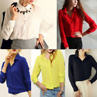 Women's Lady Loose Long Sleeve Chiffon Casual Blouse Shirt Tops CH