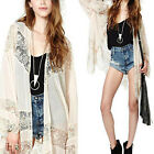 Women's Gypsy Bohemian Chiffon Loose Kimono Top Lace Blouse Long Cardigan Beige