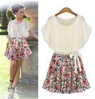 Women short Sleeve chiffon cocktail Split Shirt Tops party dress plus size  hot