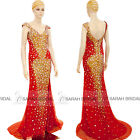 Custom Color Gold Crystal Beaded Evening Party Dresses Backless Prom Bridal Gown