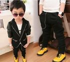 Cool Kids Toddlers Pu Leather Split Joint Boys Small Suit Coat+Pants Sets Suits