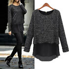 Womens Chiffon Peplum Knit Top Shirt Jumper Sweater Wool Loose Blouse Size 8-18
