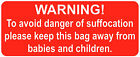 Polythene Bags - Warning! Danger Of Suffocation Stickers / Safety Labels