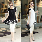 Summer Women's Loose Chiffon Floral Print Short Sleeve Blouse Casual Dress Tops