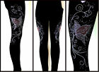 Plus One Size Contouring Slimming Black Leggings Rhinestone Pink Butterfly Swirl