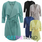 Womens New Long Blazer Coat Ladies 3/4 Sleeves Belted Trench Jacket