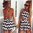 Sexy Women Summer Boho Evening Party Beach Dress Chiffon Short Mini Dress