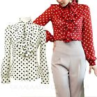 Ladies Long Sleeve Blouse Formal Womens Party Dress Shirt Ruffle Spotty Top Size