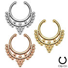 1pc Non-Piercing Beaded Collar Septum Hanger Clip-On Fake Nose Ring Body Jewelry