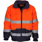 Hi Viz Bomber Jacket Waterproof Safety Work Coat Orange Navy Two Tone Visibilty