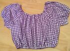 Purple and white gingham cropped top