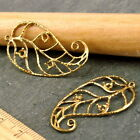 2 Sterling Silver Plated or Brass Vine Wired Leaf Earing Setting Bezel be17 PICK