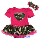 Baby Camo Hot Pink Heart Bodysuit Tutu Birthday Romper Party Dress NB-18M
