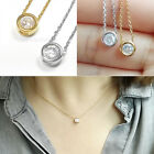 Fashion Simple Tiny Crystal Circle Charm Pendant Necklace Chain Choker Jewelry