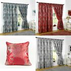 LINED CURTAINS TAPE TOP LUXURY HEAVWEIGHT JACQUARD TEAL TERRACOTTA SILVER