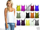 New Womens Ladies Plain Swing Vest Sleeveless Top Strappy Cami Plus Size