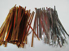 100 x 12cm QUALITY METALLIC SILVER GOLD TWIST TIES FOR CELLO BAGS CRAFT UKSELLER