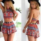 New Women Summer Sexy Floral Two-piece Halterneck Backless Crop Tops+Pants Suit