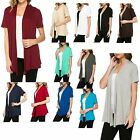 LADIES CASUAL, OPEN FRONT, CASCADE COLLAR, SHORT SLEEVE, CARDIGAN, WRAP S M L XL
