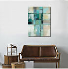 Blue Grey Vintage Abstract Stretched Canvas Print Framed Wall Art Office Decor