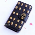 Gothic Skull Stud phone wallet Leather flip case Pouch cover For Samsung S6 S7