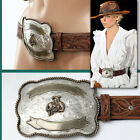 $395 RALPH LAUREN Ladies RODEO BUCKLE LEATHER BELT w/ Price Tag (L)