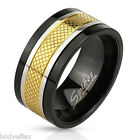 HOT MENS BLACK & GOLD IP STAINLESS STEEL 3 TONE ETCHED SPINNER WEDDING BAND RING
