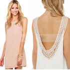 2015 Sexy Women Dress Sleeveless Backless Chiffon Dress Lace Party Mini Dress