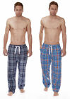 Mens 100% Woven Cotton Pyjama Lounge Bottoms Full Length Check Tie Waist Blue