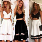 Womens 2 Piece Spaghetti Crop Top Midi Skirt Full Set Summer Holiday Beach Dress