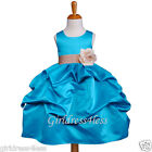 TURQUOISE/CHAMPAGNE PICK UP WEDDING FLOWER GIRL DRESS 6M 12M 18M 2 4 5/6 8 10 12