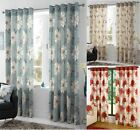 FLORAL LINED EYELET CURTAINS READYMADE RINGTOP CURTAIN RED DUCK EGG BLUE NATURAL
