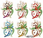 Lovely Fashion Wedding Jewelry Rhinestone Crystal Green Leaf Flower Brooch Pin