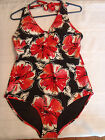 Tropical Escape Size 8 12 or 14 Choice Halter One Piece Floral Swimsuit NWT