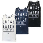 Mens Vest Crosshatch Blacknight New Sleeveless Crew Neck Summer Gym Training Top