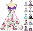 10 Colors NEW Rockabilly 50s 60s Retro Cocktail Evening Jive Pinup Floral Dress