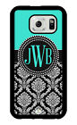 Monogram Samsung Galaxy S7, Galaxy S6, Galaxy S5, S4 Case Turquoise and Damask