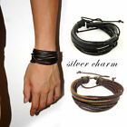 Fashion Men Surfer Tribal Wrap Multilayer Genuine Leather Cuff Bracelet