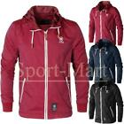 Mens Crosshatch Lightweight Mesh Lined Zip Pocket Hooded Windbreaker Jacket Size
