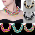 Fashion Multicolor Metal Weave Knit Braid Chunky Chain Statement Bib Necklace