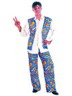 Adult Mens Ladies 60s 70s Groovy Hippy Flower Power Fancy Dress 2 Piece Costume
