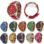 New Fashion Womens GENEVA Date Leather Stainless Steel Analog Quartz Wrist Watch