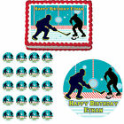 Hockey Ice Skate Rink Edible Birthday Party Cake Cupcake Toppers Decorations