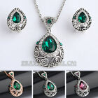 A1-S095 Vintage Style Earrings Necklace Jewelry Set 18KGP Swarovski Crystal
