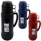 1L FLASK CAMPING VACUUM HOT COLD TEA DRINK BOTTLE & CUPS GLASS LINED INSULATED