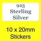 Sterling Silver 925 Stickers / Labels - Ideal For Use In Jewellery Boxes