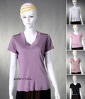 Womens Ladies 100% Pure Silk Knitted T-Shirts Short Sleeve Tank Top AF052
